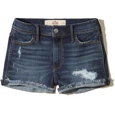Hollister High-Rise Denim Short-Shorts (80 RON) ❤ liked on Polyvore featuring shorts, bottoms, ripped dark wash, short shorts, high rise denim shorts, distressed high waisted shorts, high waisted shorts and cuffed denim shorts