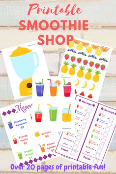 A printable smoothie shop to have play pretend and have loads of fun! Over 20 pages of fruits, smoothies, menus and more! Kids Learning Activities, Kindergarten Activities, Toddler Activities, Montessori, Smoothie Shop, Dramatic Play Centers, Play Shop, Smoothies For Kids, Play Centre