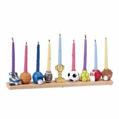 Chanukah Gifts | Hand Painted Multi-Sports Menorah