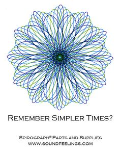 Remember Simpler Times? From the new 10-color instruction booklet: Drawing with the Spirograph® Multicolor Pen. #spirograph #10colorpens http://www.soundfeelings.com/products/spirograph_pen_refills/multicolor_booklet.htm