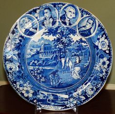 """2nd of 2 RARE 4 MEDALLION HISTORICAL STAFFORDSHIRE 10"""" PLATES MADE IN ENGLAND FOR THE AMERICAN MARKET CA. 1825. These are even rarer than the 2 medallion plates.  The best of the best.  Note the picture of the whole set of 4.  We've never seen them all offered together at one time.  In superb original condition.    Offered at 5/17/17 ADA Online show by Artemis Gallery for $5,800 Each."""