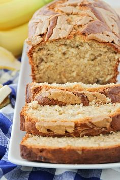 Jul 2018 - This peanut butter banana bread is so moist and tender, and has the most delicious combination of flavors! With extra peanut butter swirled on top, this sweet and salty bread is destined to be a family favorite. Healthy Banana Recipes, Banana Dessert Recipes, Banana Bread Recipes, Desserts, Easy Recipes, Fudge Recipes, Muffin Recipes, Dinner Recipes, Peanut Butter Banana Bread
