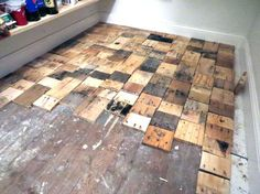 Pallet flooring everything you need to know pinterest pallet heres one before view and ugh it was horrifying so embarrassed see her after pallet floorspallet woodpallet ideaspallet solutioingenieria Gallery