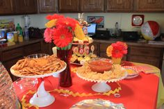 Tablescape with my favorite collection: footed cake plates.  #red #yellow #babyshower #decor #retro #vintage #cakeplates #home-grown