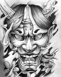 Akugenta Yoshihira by Kashu Horishin 悪源太義平by加州彫心 Irezumi Art Of The Day 👹👹👹 Featuring: 🔸 Get… Japan Tattoo Design, Tattoo Design Drawings, Tattoo Sleeve Designs, Tattoo Sketches, Hannya Maske Tattoo, Oni Tattoo, Hanya Tattoo, Japanese Demon Tattoo, Japanese Dragon Tattoos
