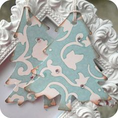 Shabby Chic Tiffany Blue Christmas Tree Tags with Gems - Set of 5