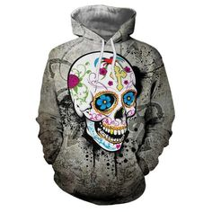 Fashion 3D Hoodie Funny Skull Paint Printed Hoodies Sweatshirts Male Casual Hoodie Slim Fit