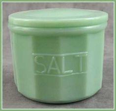 JADEITE GREEN GLASS SALT CONTAINER