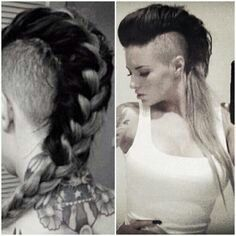 christy mack no hair - Bing Images My Hairstyle, Undercut Hairstyles, Cool Hairstyles, Long Hair Shaved Sides, Shaved Hair, Dreads, Mohawk Styles, Short Hair Styles, Long Hair Mohawk