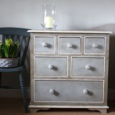 Sally White Designs hand painted drawers Gustavian style using Annie Sloan Paris Grey paint