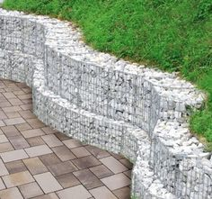 curved gabion wall created by site cutting standard rectangular gabions http://www.gabion1.com