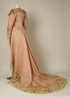 """French silk negligee , c.1880..Marking: [label] """"E. Felix Bréveté, 15 Faubg. St. Honoré, Paris"""""""