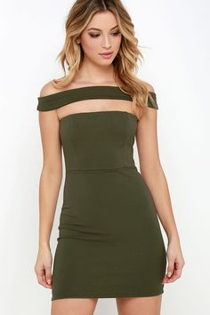 Give your dress collection an upgrade with the Modern Take Olive Green Off-the-Shoulder Dress! A wide strap falls off-the-shoulder above a cutout, strapless bodice, and fitted skirt.