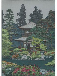 Artist: Toshi Yoshida (1911- 1995)...  Title: Silver Pavilion...   Medium: Ink ..... Technique: Woodblock