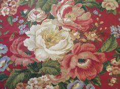 Rose Fabric Villa Carlotta Waverly Fabric by LuckyPennyTrading