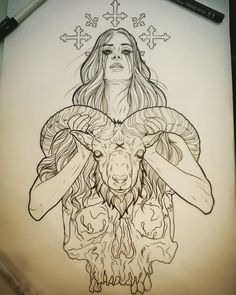 daveolteanuart: Would love to tattoo this lady preferably full colour. Hit me u… daveolteanuart: Would love to tattoo this lady preferably full colour. Hit me up or email daveolteanuart Inkjecta Thailand Sullen Clothing Satanic Tattoos, Satanic Art, Tattoo Sketches, Tattoo Drawings, Art Sketches, Dark Art Drawings, Cool Drawings, Body Art Tattoos, Sleeve Tattoos