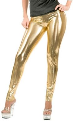 ToBeInStyle Women's Seamless Stretchy Shiny Liquid-Look Elastic Metallic Legging Gold L Go to the website to read more description. Leggings Depot, Vinyl Leggings, Lycra Leggings, Skin Tight Leggings, Leggings Are Not Pants, Gold Leggings, Tights, Burning Man, Faux Leather Leggings