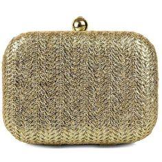 Jessica Mcclintock Roxi Minaudiere Straw Clutch ($62) ❤ liked on Polyvore featuring bags, handbags, clutches, gold, brown handbags, jessica mcclintock handbags, straw handbags, chain handle handbags and jessica mcclintock purse