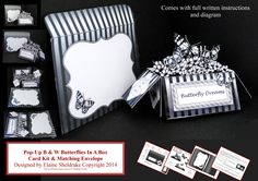 Pop-Up Black & White Butterfliies In A Box Card Kit £1.60 and available only from me at https://www.facebook.com/media/set/?set=oa.1504878103089514&type=1