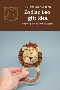 This amigurumi crochet pattern of cute lion baby rattle with teether ring will be a great baby shower gift, pregnancy gift for mom to be or birthday gift for the little ones in your life. *The size is perfect for little hands and helps baby to develop sensory awareness the hardness of the wood and the softness of the yarn. It will aid baby to develop it's fine motor skills. #crochetpattern #crochet #babyrattle Pregnancy Gift For Friend, Pregnancy Gifts, Crochet Toys Patterns, Stuffed Toys Patterns, Crochet Ideas, Newborn Crochet, Crochet Baby, Baby Shower Gifts, Baby Gifts