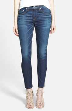 rag & bone/JEAN Ankle Skinny Jeans (Doheny) at Nordstrom.com. Contrast topstitching, a whiskered wash and perfectly faded finish lend all of the classic, well-loved details to these ultraslim, ankle-grazing skinny jeans.