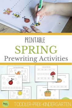 Printable Spring Prewriting Activities for toddlers and preschoolers! Learn the basic strokes of handwriting! #printable #spring #theme #prewriting #prewrite #write #early #handwriting #activities #activity #preschool #preschooler #preschooling #toddler #learn #howto #prek #kindergarten #fun #school #athome #homeschool #classroom #writing Kindergarten Fun, Preschool Learning Activities, Preschool Lessons, Classroom Activities, Pre Writing, Teaching Writing, Writing Ideas, Preschool Spring Songs, Pre Reading Activities