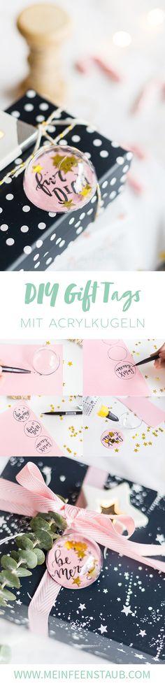 Kreative DIY-Idee zum Selbermachen für Weihnachtsgeschenke: Weihnachtliche Geschenkanhänger mit Lettering selbermachen | Geschenke kreativ verpacken | Weihnachtsgeschenke schön einpacken