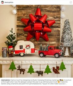 Vintage Red Truck with Christmas Tree Decor - perfect for your farmhouse Christmas decorations Redneck Christmas, Christmas Red Truck, Plaid Christmas, Country Christmas, Christmas Time, Vintage Christmas, Diy Christmas Garland, Christmas Mantels, Holiday Ornaments