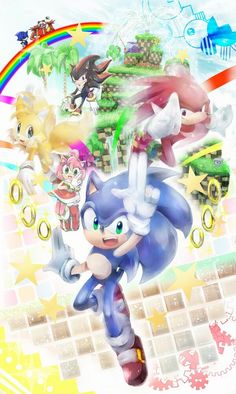 Sonic, Knuckles, Tails, Shadow, and Amy