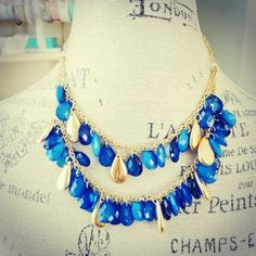 Image of Blue Double Beaded Necklace $20.00 www.clover-boutique.com