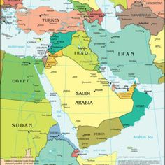 Above is the Middle East map. The Middle East is generally a dry and arid region. This region includes many countries such as Saudi Arabia, Iran, Iraq, and more! Middle East Map, The Middle, Map Of Belize, Dubai Map, Naher Osten, Eastern Countries, Asia Map, Arabian Sea, Arabian Food
