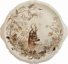 Gien France Sologne Cake Platter 13 In Dia Traditional Platters, Animal Painter, Cake Platter, China Painting, Boutique, Earthenware, Stoneware, Serving Dishes, Deer
