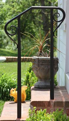Custom Made Williamsburg Style Handrailing Porch Step Railing, Wrought Iron Porch Railings, Porch Handrails, Wrought Iron Garden Gates, Garden Railings, Outdoor Stair Railing, Iron Handrails, Patio Stairs, Garden Stairs