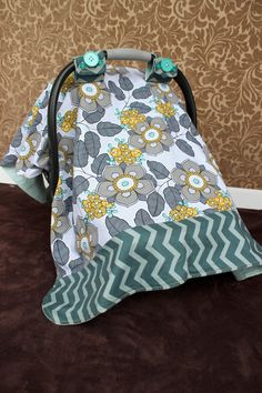 Infant Car Seat Canopy, Yellow, Teal & Gray Floral, Dark Teal Chevron