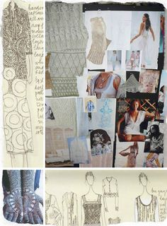 Fashion Sketchbook snippets & fashion mood board (Peruvian Connection) sectioning