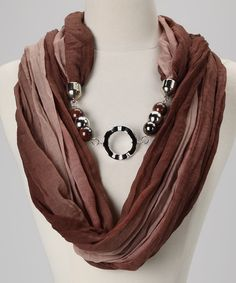 Brown Ombre Charm Infinity Scarf
