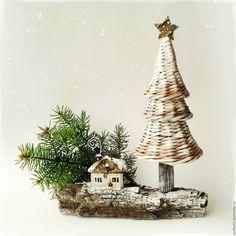 Купить 'Первый снег' Ёлочка, новогодняя композиция - елочка новогодняя, елка плетеная, зимняя композиция