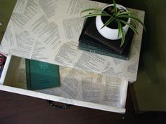 Use decoupage for side table in bedroom