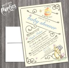Vintage classic Winnie the pooh Baby Shower or  by InvitingParties