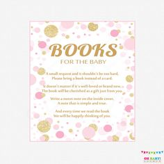 Pink and Gold Baby Shower Bring a Book Instead of by OhBabyShower