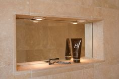 Master Bath: Shaving Cream niche with fog-free mirror and lights