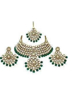 Green Alloy Austrian Diamond Necklace Set Earrings and Maangtikka 199007 Ethnic Jewelry, Indian Jewelry, Jewellery, Diamond Necklace Set, Marriage Anniversary, New Years Sales, Green Fabric, Color Shades, Indian Ethnic