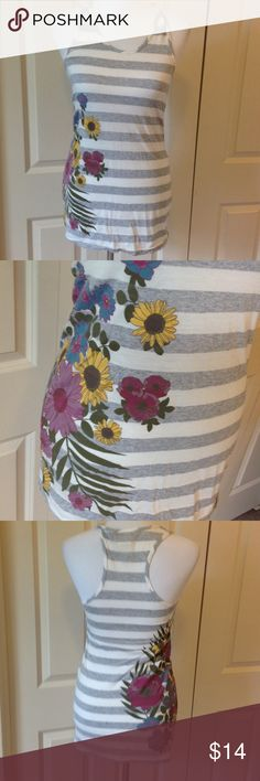Gray and white striped tank with flowers 50% polyester 50% rayon Realitee Tops Tank Tops
