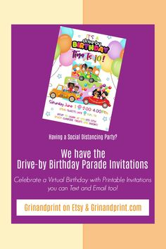 This is our Drive-By Birthday Invitations for a girl. If you are in need of some Drive-By Birthday Parade Ideas or a Drive-By Party Invitation for a Social Distance Birthday Party then our Drive-by Parade Invitations are something fun for a girl's birthday party. A Birthday Party can still be held with curbside treats and favors. Check out our Birthday Scavenger Hunts too! #drivebyparty #drivebybirthday #paradebirthday #paradebirthday #virtualparty #socialdistancingbirthday… Holiday Invitations, Birthday Invitations Kids, Printable Invitations, Party Printables, Scavenger Hunt Birthday, Scavenger Hunts, Kids Party Tables, Girl Birthday, Birthday Parties