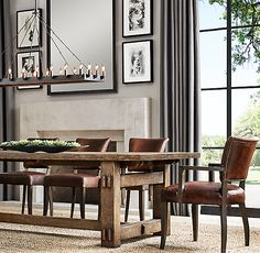 Restoration Hardware - Adele Leather Side Chair in Italitan Brompton Cocoa with Brown Oak Drifted finish 20 W x D x 35 H French Dining Chairs, Dining Table Design, Dining Table Chairs, World Of Interiors, Dining Room Wall Decor, Dining Room Furniture, Plywood Furniture, Interior Design Living Room, Living Room Designs