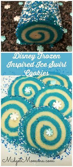 Disney Frozen Inspired swirl sugar cookies. These cookies are easy to make even though they do not look easy. Every Frozen fan will LOVE them!
