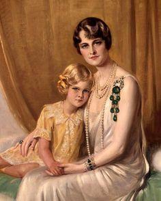 U.K. Marjorie Merriweather Post of Hillwood with her famous daughter Dina Merrill actress // painting by: Julius von Blaas (1845 – 1922, Italian-born Austrian)