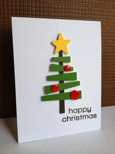 handmade Christmas cards from Jo Firth-Young . clean and simple design . square with rectangle stamped . Homemade Christmas Cards, Christmas Tree Cards, Christmas Gift Tags, Felt Christmas, Handmade Christmas, Holiday Cards, Simple Christmas, Xmas Tree, Navidad Diy