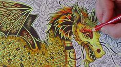 How I color a golden dragon Tutorial 1 Prismacolor enchanted forest by J...