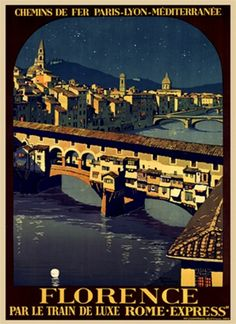 Florence by Broders 1921 France - Beautiful Vintage Poster Reproduction. This vertical French travel poster features a night view of the ponte vecchio bridge over the river Arno with the city glowing behind it. Giclee Advertising Print. Classic Posters